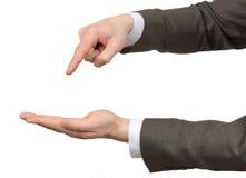 Руки Businessmans указывая на пустой космос Стоковое фото RF