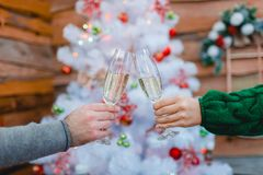 Руки chears стекел пары с шампанским на предпосылке рождественской елки indoors Стоковое Изображение