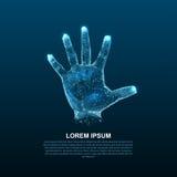 Руки Hologram линий и пунктов Пальцы скеннирования Личное идентификация Стоковое Фото