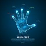 Руки Hologram линий и пунктов Пальцы скеннирования Личное идентификация Стоковая Фотография RF