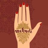 Руки mudra йоги элемента с картинами mehendi Vector иллюстрация для студии йоги, татуировка, курорты, открытки, сувениры иллюстрация штока