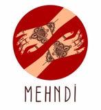 Руки mudra йоги элемента с картинами mehendi Vector иллюстрация для студии йоги, татуировка, курорты, открытки, сувениры индийско бесплатная иллюстрация