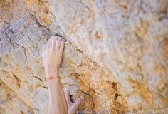 Руки ` s альпиниста на скале Стоковые Фото