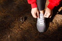 Руки ` s девушки связывают шнурки в лесе во время тренировки Стоковые Фотографии RF