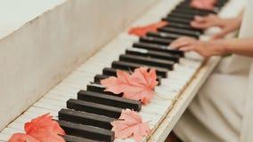 Руки ` s девушки на клавиатуре рояля осень boots зонтик темы плаща резиновый Кленовые листы разбросанные на ключи акции видеоматериалы