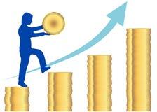 Руководитель бизнеса держа золотую монетку в руках шагая вверх лестница стога монетки устанавливая золотую монетку с и стрелку по иллюстрация вектора