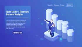 Руководитель группы, teamworking, пребывание 2 бизнесменов на предпосылке роста графической, тренируя в деле, tutorship равновели бесплатная иллюстрация