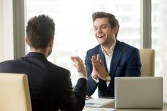Руководитель компании удовлетворяемый с успешными переговорами Стоковое Изображение