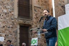 Руководитель крайне правого Vox партии, во время его речи на ралли, который держат в площади de Сан Джордж в Caceres стоковая фотография