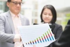 Руководитель бизнеса представляя диаграммы к главному исполнительному директору стоковое фото rf