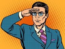 Руководитель бизнесмена наблюдателя смотрит вперед бесплатная иллюстрация