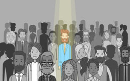 Руководитель бизнесмена стоит вне от индивидуала толпы иллюстрация штока