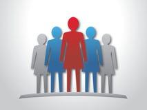 Руководитель женщины и ее команда. иллюстрация штока