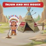 Руководитель индейцев с tepee иллюстрация штока