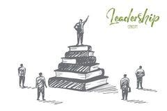 Руководитель нарисованный рукой стоя на книгах наваливает трибуну Стоковое Изображение
