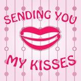 Рукописная карточка Вектор посылая поцелуи Стоковая Фотография