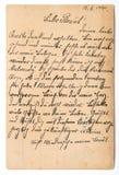 Рукописное старое письмо почты столба Бумажная текстура предпосылки Стоковые Фото