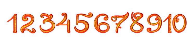 Рукописные красные цифры с украшением золота филигранным Стоковое Изображение RF