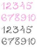 Рукописные розовые и черные изолированные цифры иллюстрация вектора