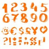 Рукописные текстурированные символы и номера щетки бесплатная иллюстрация