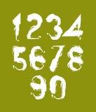Рукописный белый вектор нумерует, стильные установленные номера нарисованными с Стоковое Фото
