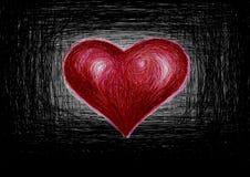 рукописный красный цвет сердца Стоковое Изображение RF