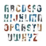 Рукописный современный комплект числа вектора, doodle установленные письма, нарисованный вручную красочный сценарий покрашенного  Стоковые Изображения