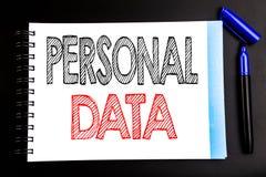 Рукописный текст показывая личные данные Сочинительство концепции дела для предохранения от цифров написанного на бумаге примечан Стоковое Изображение
