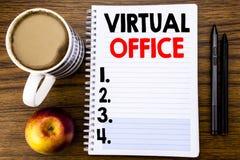 Рукописный текст показывая офис Концепция дела для онлайн пути работы написанного на бумаге примечания блокнота на деревянном str Стоковое фото RF