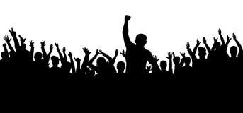 Рукоплескание толпы силуэта людей Жизнерадостная группа в составе вентиляторы иллюстрация вектора