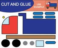 рукоплескания Изображение отрезка и клея самосвала Воспитательная игра для детей иллюстрация вектора