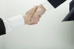 Рукопожатие бизнесмена и женщины в костюмах Стоковые Изображения