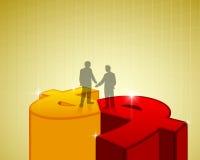 Рукопожатие бизнесмена стоя на знаке дег Стоковые Изображения RF