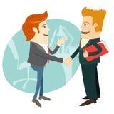 Рукопожатие и бизнесмены дела в фронте их офис fla бесплатная иллюстрация