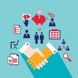 Рукопожатие и значки для концепции дела сети успешной Иллюстрация штока