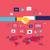 Рукопожатие и значки для сети на концепции дела предпосылки карты мира успешной Иллюстрация штока