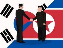 Рукопожатие корейских Северной Кореи и Южной Кореи руководителей Стоковое фото RF