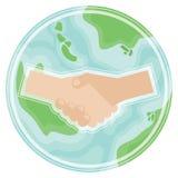 Рукопожатие на земле планеты в плоском стиле Символ международного мира, глобального согласования, международного партнерства иллюстрация штока