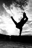рукоятка делая handstand девушки один силуэт Стоковые Фото