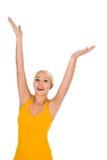 рукоятки подняли женщину стоковое изображение