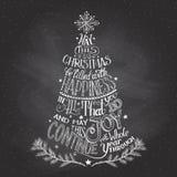 Рук-литерность рождественской елки с мелом Стоковая Фотография