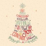 Рук-литерность рождественской елки Стоковые Изображения