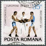 РУМЫНИЯ - 1969: боксеры, рефери и карта выставок Европы, чемпионатов Бухареста бокса серии европейских, 31-ое мая-8-ого июня стоковые изображения rf