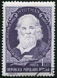 РУМЫНИЯ - 1955: выставки Вальтер Walt Whitman 1819-1892, американский поэт, портреты серии стоковые фото
