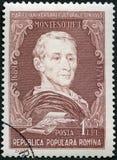 РУМЫНИЯ - 1955: шоу Чарльз-Луис de Secondat, барон Montesquieu 1689-1755, философ, портреты серии стоковое фото