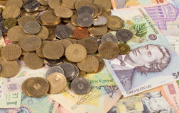 Румынская предпосылка денег Стоковые Фотографии RF