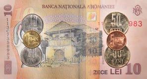 Румынские деньги: 10 леев Стоковые Фото