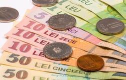 Румынские монетки и банкноты, конец-вверх Стоковое Фото