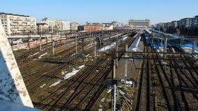 румынский поезд станции Стоковое Изображение