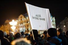Румынский протест для демократии Стоковая Фотография RF